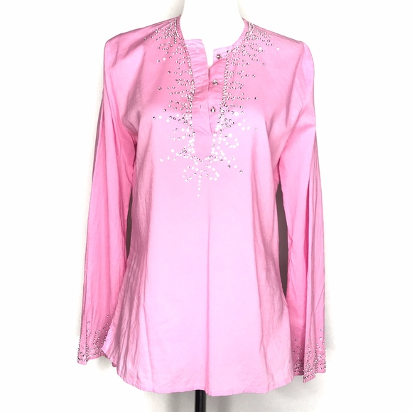 Gracie Tops - 🌈 Gracie Pink Beaded Sequin Long Sleeve A030638
